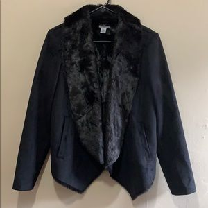 NWOT DKNY Black Faux Fur & Suede Coat - Medium